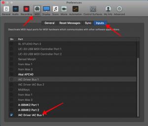 Configure Logic Pro, Configure MIDI inputs, Select IAC driver