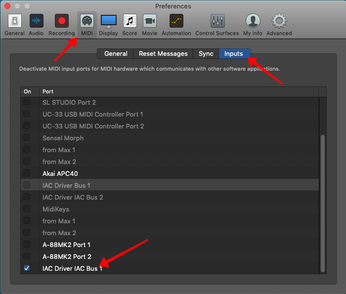 Logic Pro X Preferences, MIDI Inputs, IAC Driver IAC Bus 1