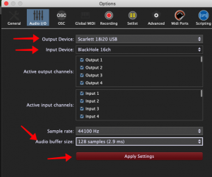 Gig Performer, configure input and output audio devices