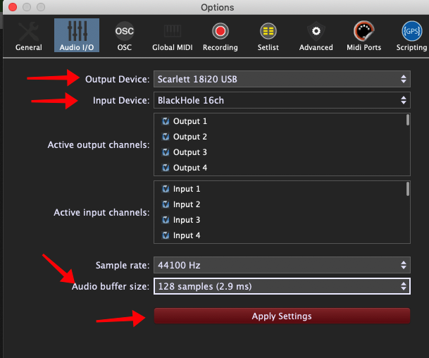 Gig Performer Options, Audio I/O, select Input and Output Device, Audio buffer size and Apply Settings