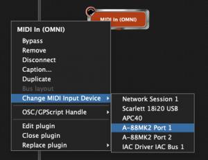 Gig Performer MIDI OMNI port