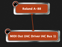 Connect Roland A-88 to MIDI Out (IAC Driver IAC Bus 1) in Gig Performer