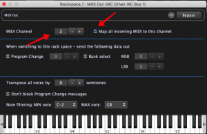 MIDI Channel 2, Map all incoming MIDI to this channel