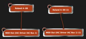 Gig Performer, Roland A-88, plugin splits