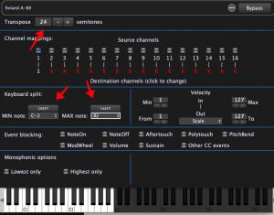MIDI in block, adjust Transpose to 24