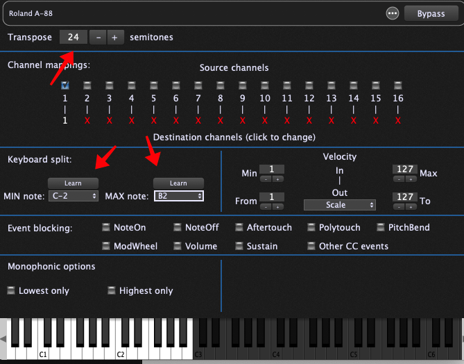 Double-click on each Midi In block (one at a time) and adjust the keyboard range and Transpose