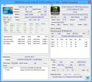 HWiNFO screenshot of Fujitsu Amilo Pi 3560