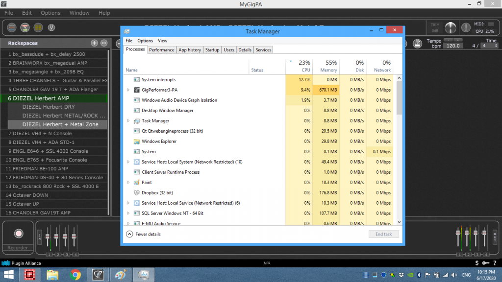 Gig Performer Resources in Task Manager, used RAM and CPU