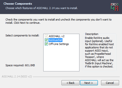 ASIO4ALL v2, Select components and features to install