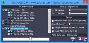 ASIO4ALL v2.14 control panel, WDM Device list properties, E-MU 0404 USB, VB-Audio Virtual Cable