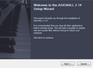ASIO4ALL setup wizard guides you through the installation process