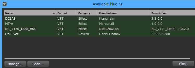 Available VST plugins in Gig Performer