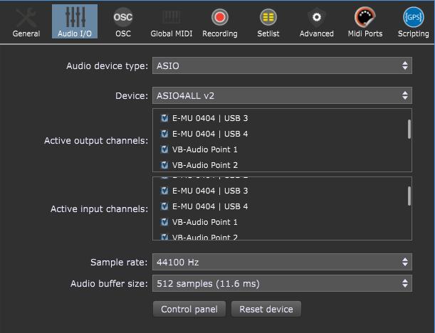 Gig Performer audio plugin host, Audio I/O settings, ASIO4ALL, record inputs feature