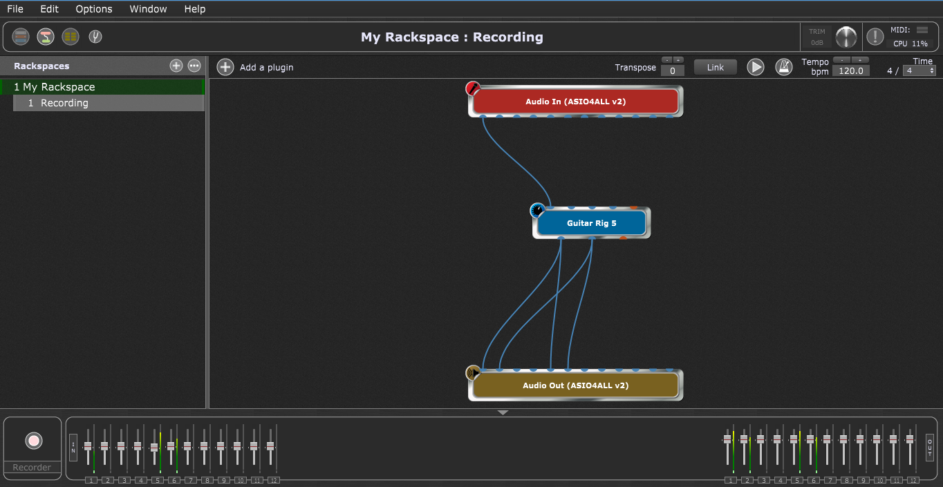 Gig Performer Back View, Native Instruments Guitar Rig 5 VST plugin, record outputs out of Guitar Rig 5