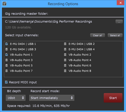 Gig Performer Recording Options, Record button, Select input channels to start recording