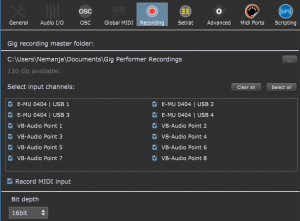 Gig Performer, audio plugin host, Recording tab, Record input channels