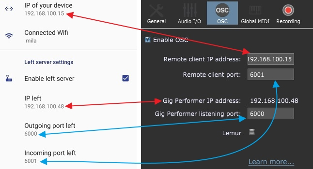 OSCAR and Gig Performer side-by-side OSC parameters