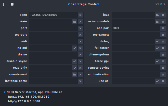 Open Stage Control Server Running