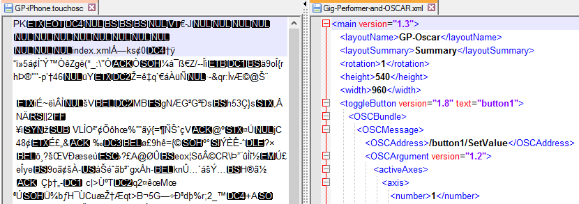 TouchOSC vs OSCAR Layout file type comparison