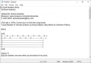 ChordPro File, Notepad edit