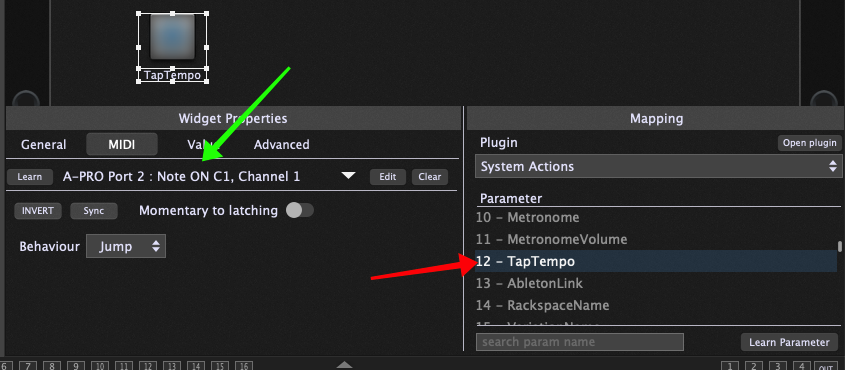 TapTempo parameter in the System Actions plugin block in Gig Performer 4