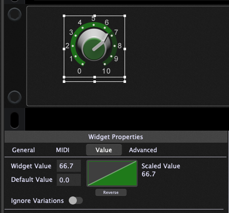 Note a green triangle in widget properties, the widget scaling curves, Gig Performer 4