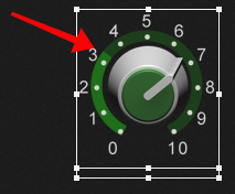 Changes on the knob's ring when the reverse operation is applied to the widget, Widget scaling mechanism, Gig Performer 4