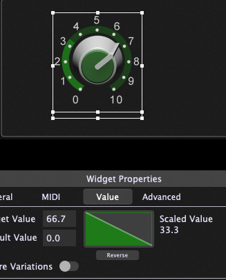 The reverse operation on the knob, widget scaling curves, Gig Performer 4