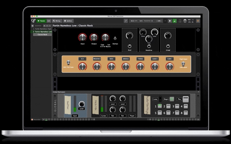 Gig Performer 4 on Mac Book Pro, Panels view, black