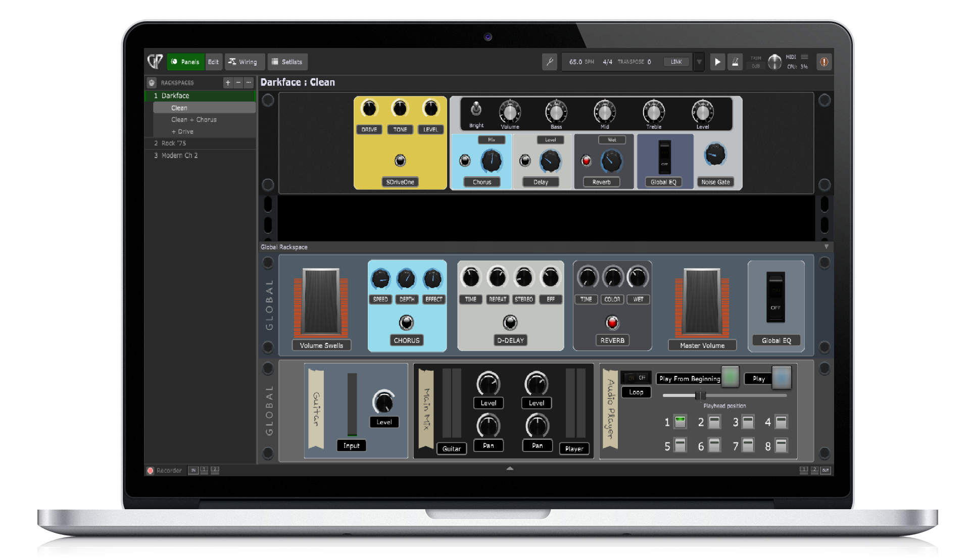 Gig Performer 4 on Mac Book Pro, Panels view