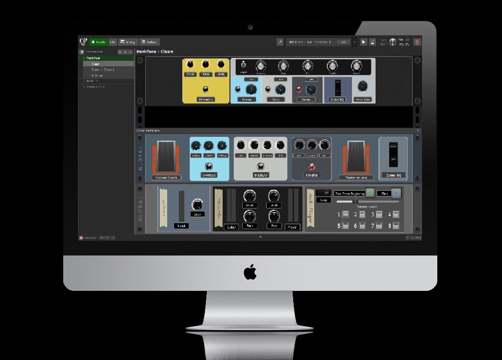 Gig Performer 4 on iMac, Panels view