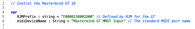 Control the Mastermind GT GT 16 part of the script