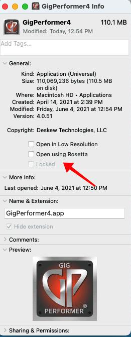 GigPerformer4 info window on Mac; Click on Open using Rosetta.