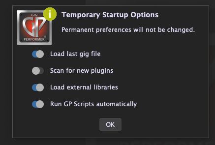 Temporary Startup Options in Gig Performer 4