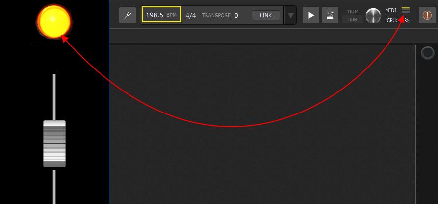Gig Performer MIDI indicator