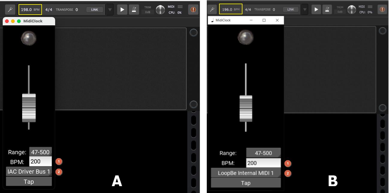MidiClock, simple MIDI clock generator, Windows and Mac screenshots with Gig Performer