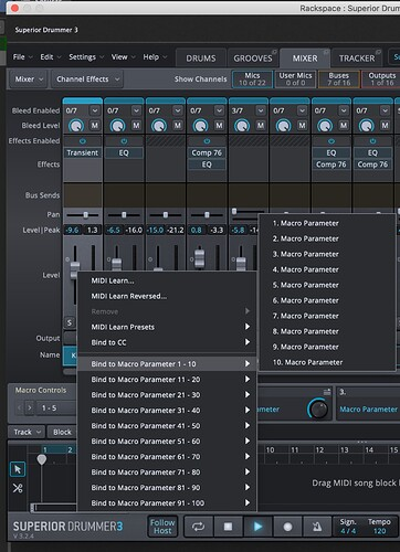 Toontrack Superior Drummer 3 parameters bind to macro buttons