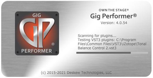 Plugin Scanner on startup, in Gig Performer, AU, VST3 and VST plugin host