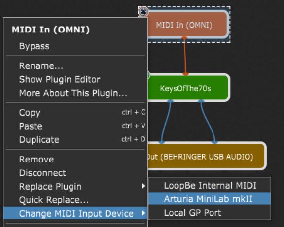 Change MIDI input device in Gig Performer, Arturia MiniLab mkII