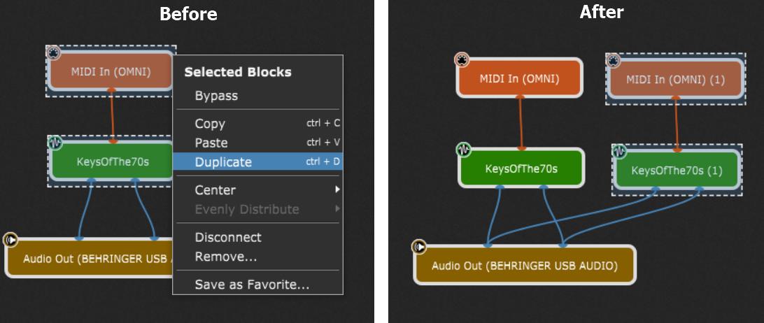Duplicate VST plugin blocks in Gig Performer