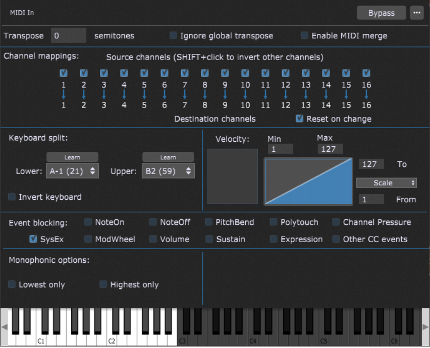 How to create keyboard split A-1 to B2 in Gig Performer