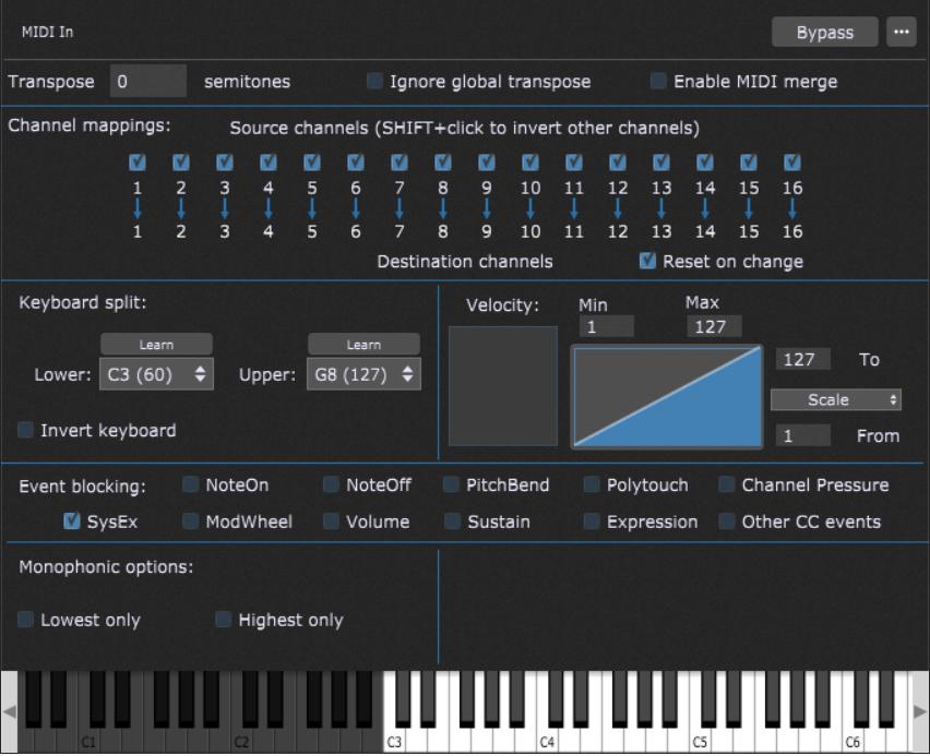 How to create keyboard split C3 - G8 in Gig Performer