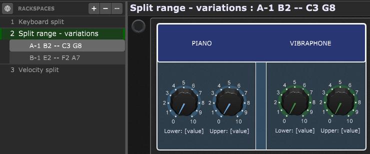 Keyboard split dynamically changes through variations in Gig Performer