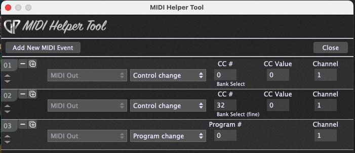 MIDI Helper Tool Select MIDI messages