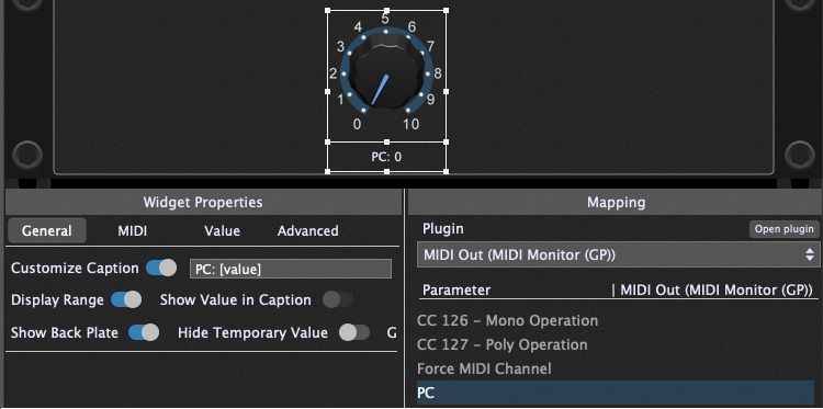 PC (Program Change) parameter in the MIDI Out plugin in Gig Performer