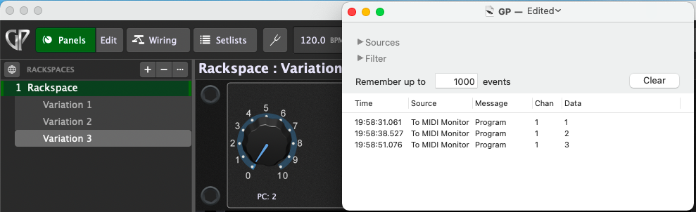 Variations send program change messages (PC messages) in Gig Performer